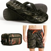 Superdry military style accessories🖤 #superdrygreece #militarystyle #camo #summeraccessories #flipflop #swimshorts #pelinaaccessories